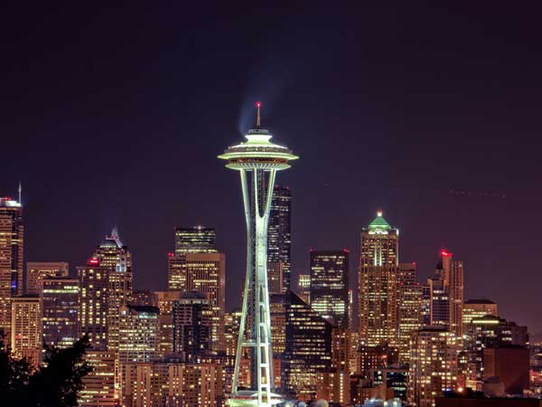 Space Needle at Seattle City skyline